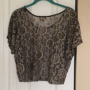 Unique Gray and Silver Lace Beaded Top.